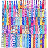 Mudder 100 Pieces Elastic Hair Ties No Crease Ponytail Holders Printed Patterns Knotted Hair Bands Ribbon for Girls Women, 50 Styles
