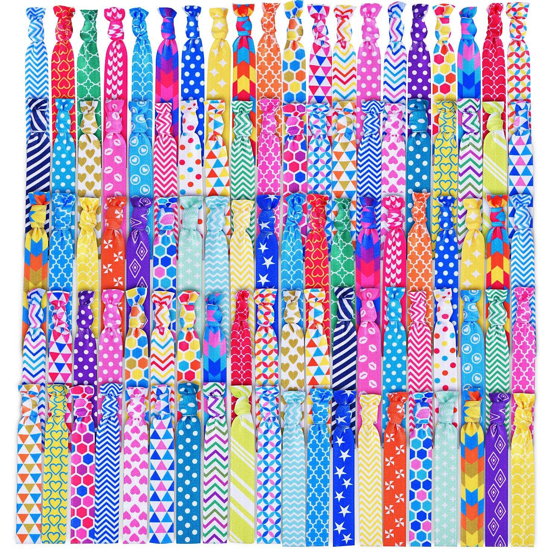 Amazon Com Syleia 100 Hair Ties Printed Patterns And