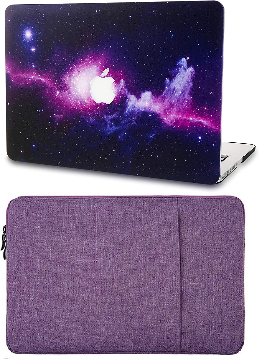"KECC Laptop Case for MacBook Air 13"" with Sleeve Plastic Hard Shell Case A1466/A1369 2 in 1 Bundle (Purple)"