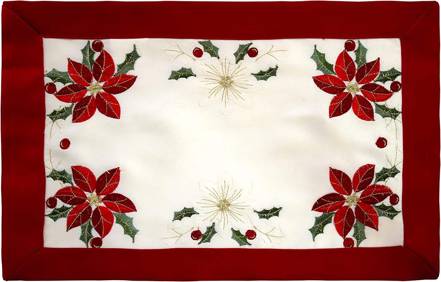 Holiday Embroidered Poinsettia 13 x 19 in. Cloth Placemats with Red Trim Border, Set of 4