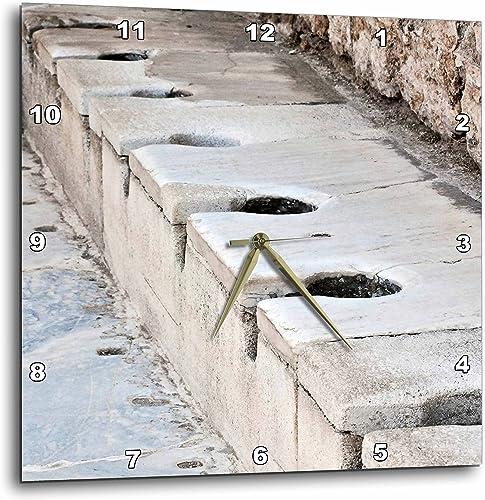 3dRose dpp_51711_2 Scholastica Baths-Latrines, Toilets, Ephesus, Roman Ruins, Ruins, Public Toilets, Bathroom-Wall Clock, 13 by 13-Inch