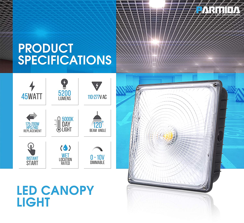 Parmida LED Canopy Light, 45W, 0-10V Dimmable, 5200lm, 110-277VAC ...