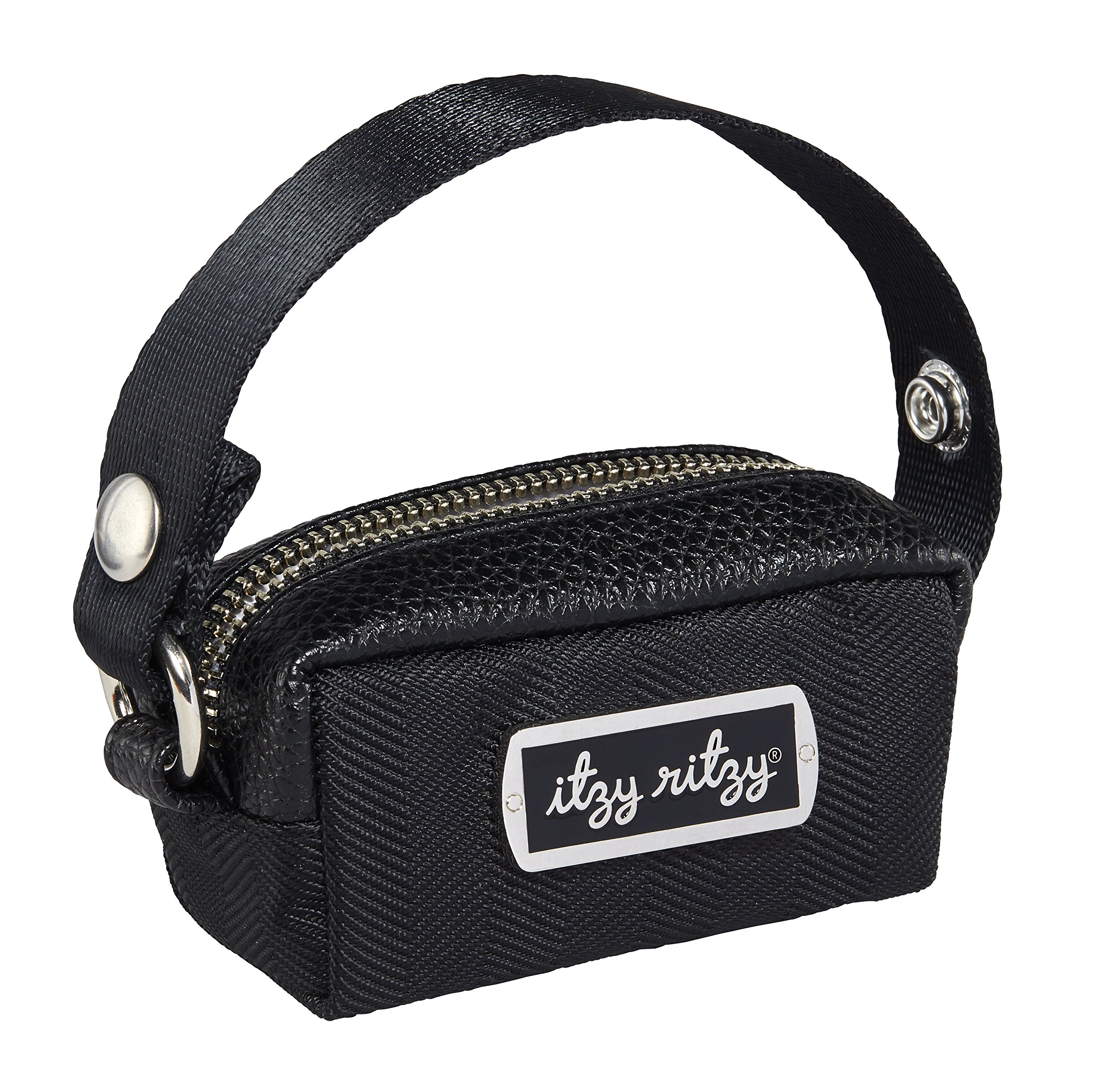 Itzy Ritzy Pacifier Case with Adjustable Handle - Pacifier Pod Holds 2 Pacifiers and Can Be Worn as a Wristlet or Attached to a Diaper Bag or Purse; Measures 4.5'' L x 2.25'' W, Black Herringbone by Itzy Ritzy