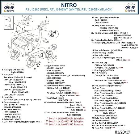 Amazon.com: Andador Nitro de 4 ruedas, RTL10266BK, Universal ...