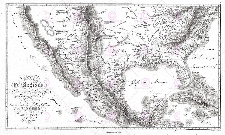 Map Of Texas Louisiana.Amazon Com Map Antique 1811 Humboldt Mexico Texas Louisiana Florida