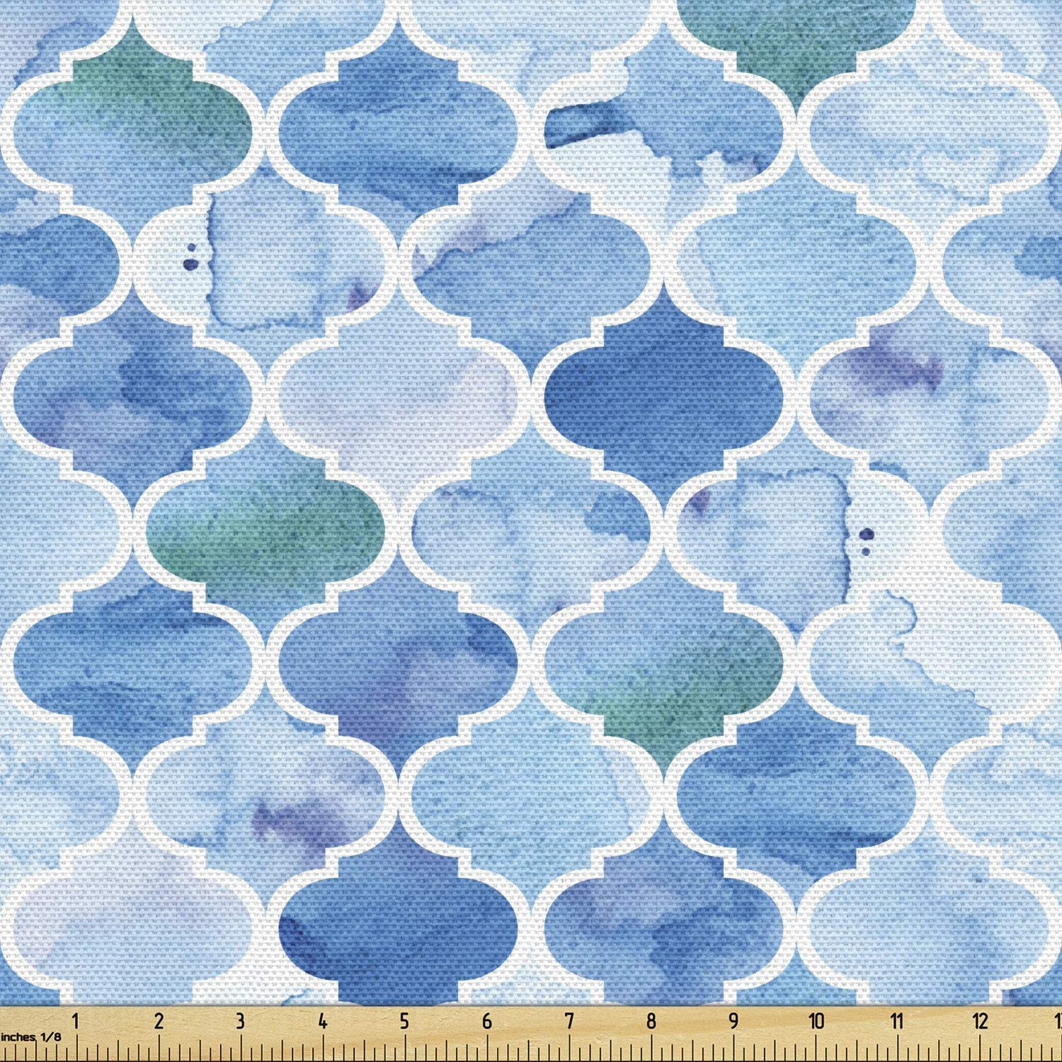 Ambesonne Moroccan Fabric by The Yard, Oriental Style Mosaic Pattern in Watercolor Paint Retro Style Artwork Print, Decorative Fabric for Upholstery and Home Accents, 5 Yards, Pale Blue