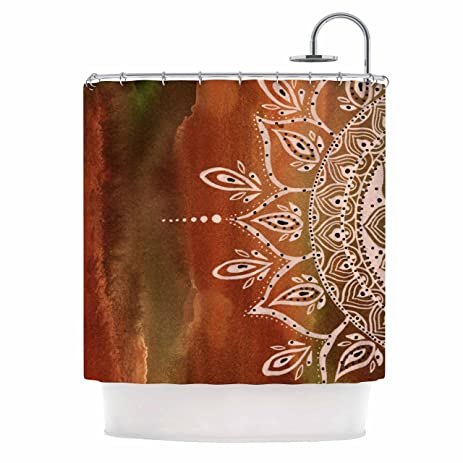 KESS InHouse Li Zamperini QuotAutumn Mandalaquot Orange Brown Shower Curtain