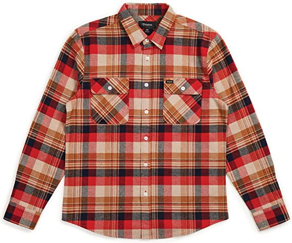 Brixton Mens Bowery Long Sleeve Standard Fit Flannel