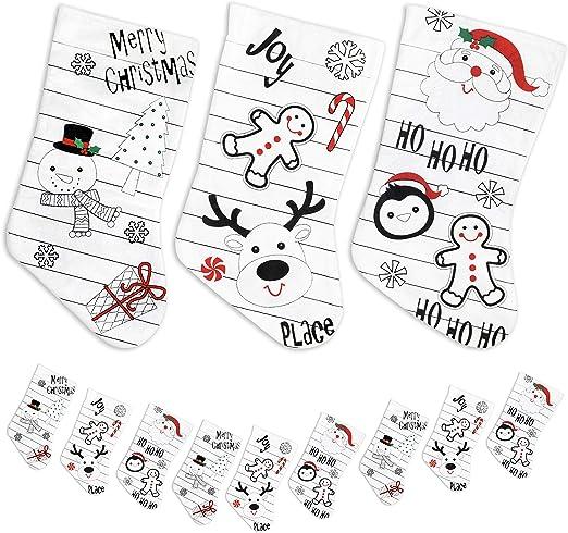 Pack de 9 calcetines blancos de Navidad (Santa, muñeco de nieve ...