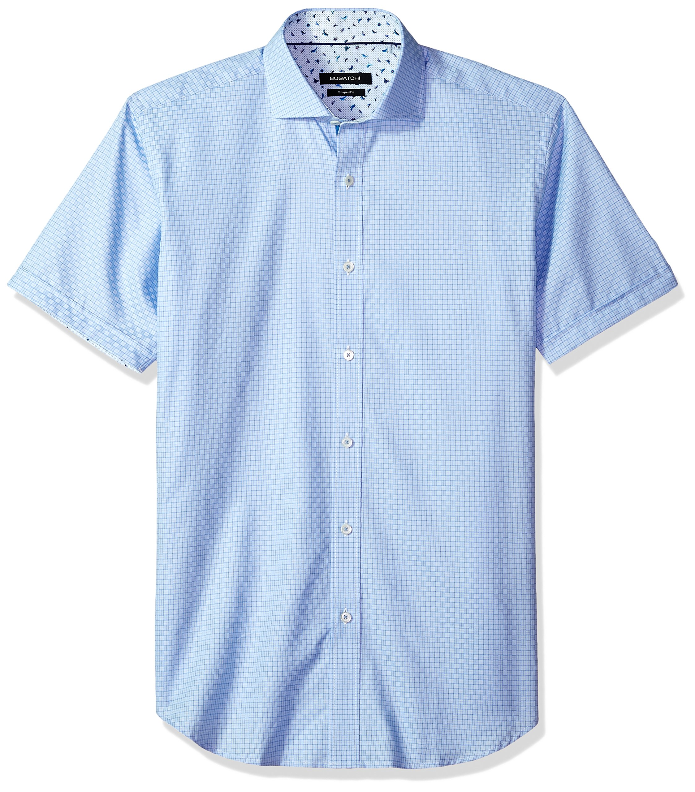 Bugatchi Men's Fitted Soft Finish Point Collar Short Sleeve Shirt, Classic Blue, L