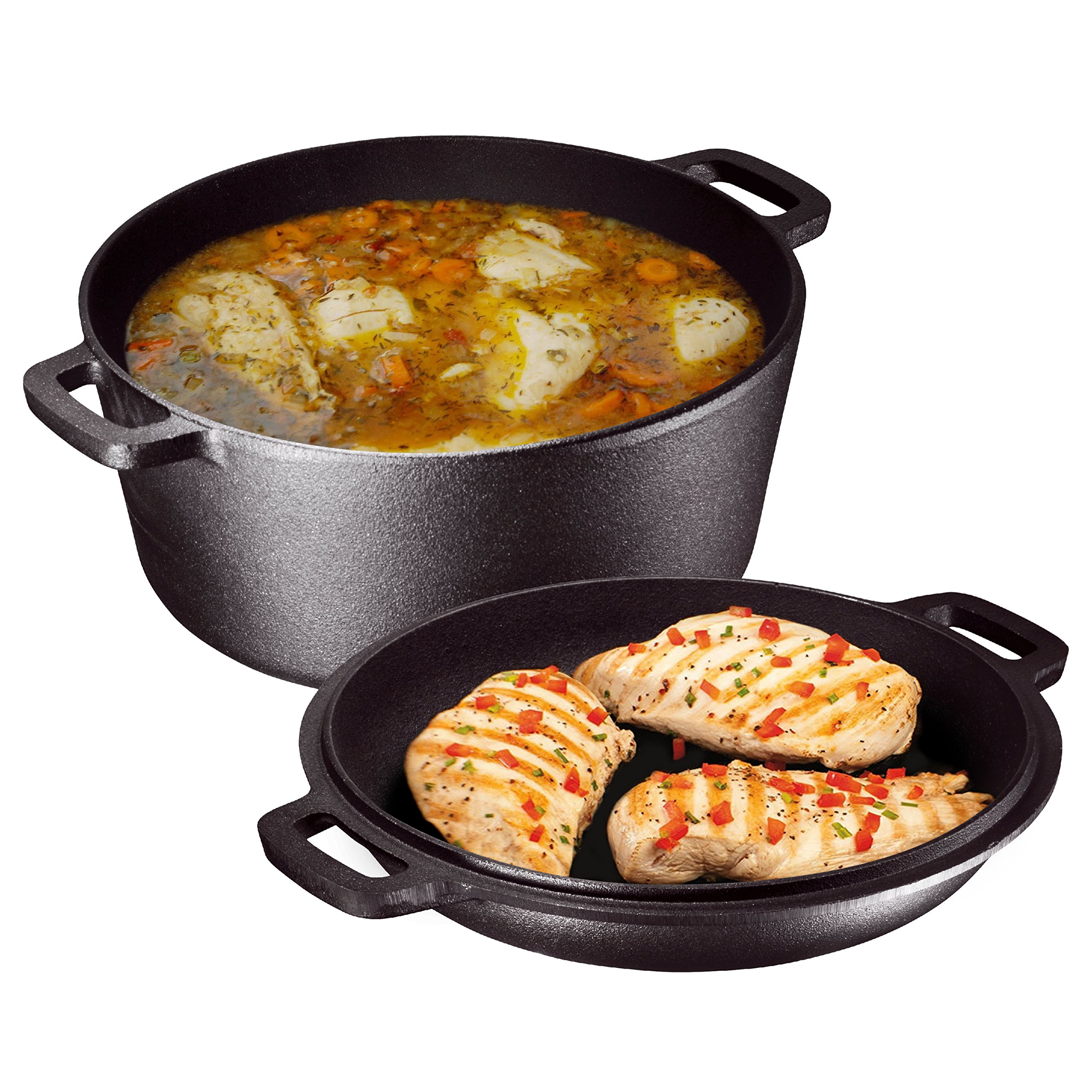 Heavy Duty Pre-Seasoned 2 In 1 Cast Iron Double Dutch Oven and Domed Skillet Lid By Bruntmor, Versatile Healthy Design, Non-Stick, 5-Quart