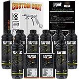 U-Pol Raptor Black Urethane Spray-On Truck Bed Liner 8 Quart Kit and Custom Coat Spray Gun with Regulator