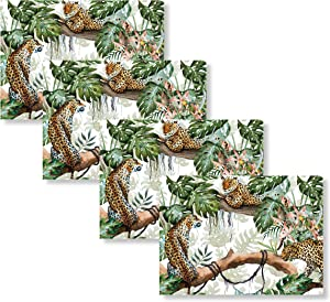Blissful Living Set of 4 Placemats, Stain Resistant - Decorate Your Kitchen Table with Our Beautiful Rectangle pad placemat (Leopard Jungle)