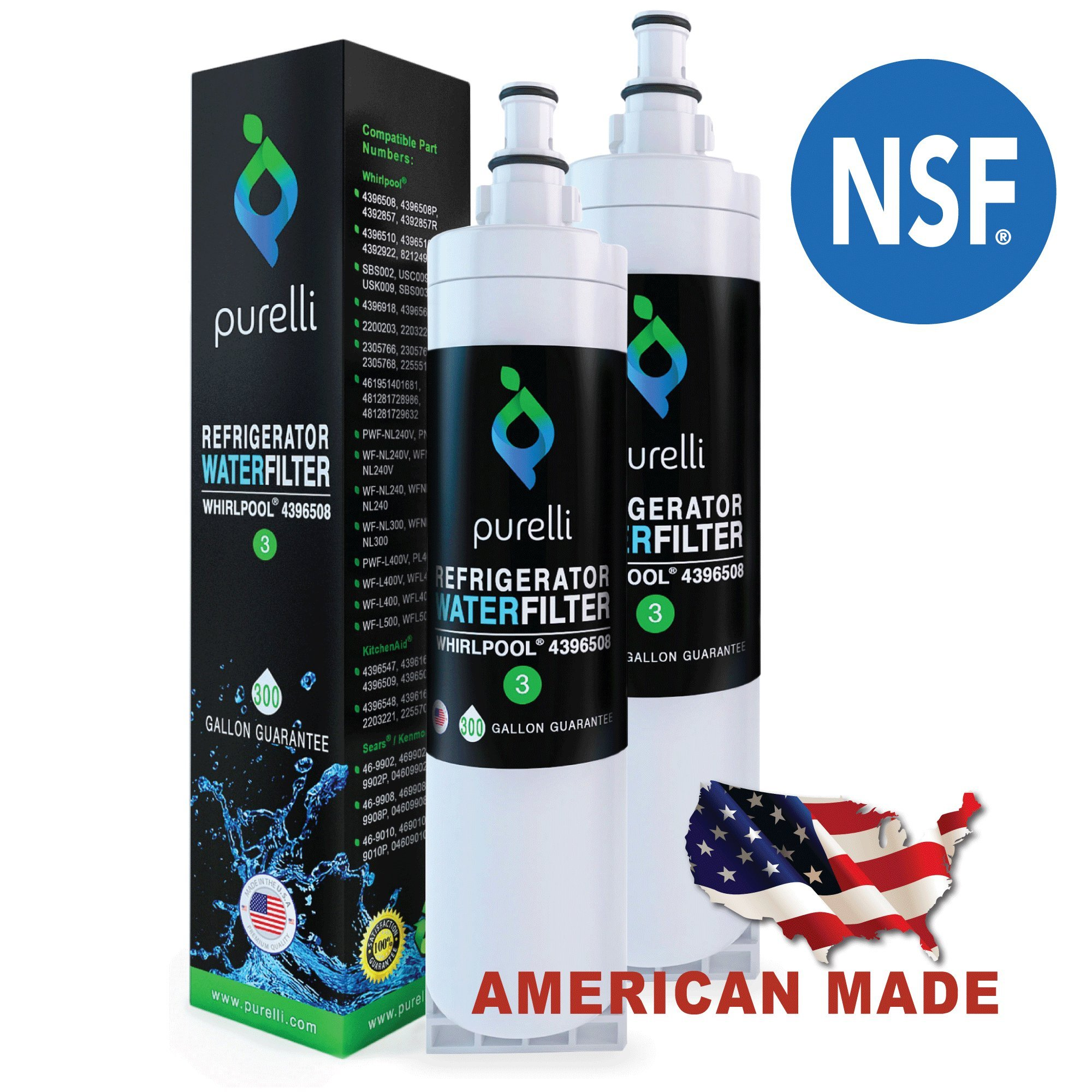 Purelli USA Made Premium Refrigerator Water Filter Compatible with Whirlpool PUR 4396508, 4396510, EDR5RXD1, 4396508p, NLC240V, for Kitchenaid Maytag Whirlpool Side by Side Refrigerator (2 pack) by Purelli