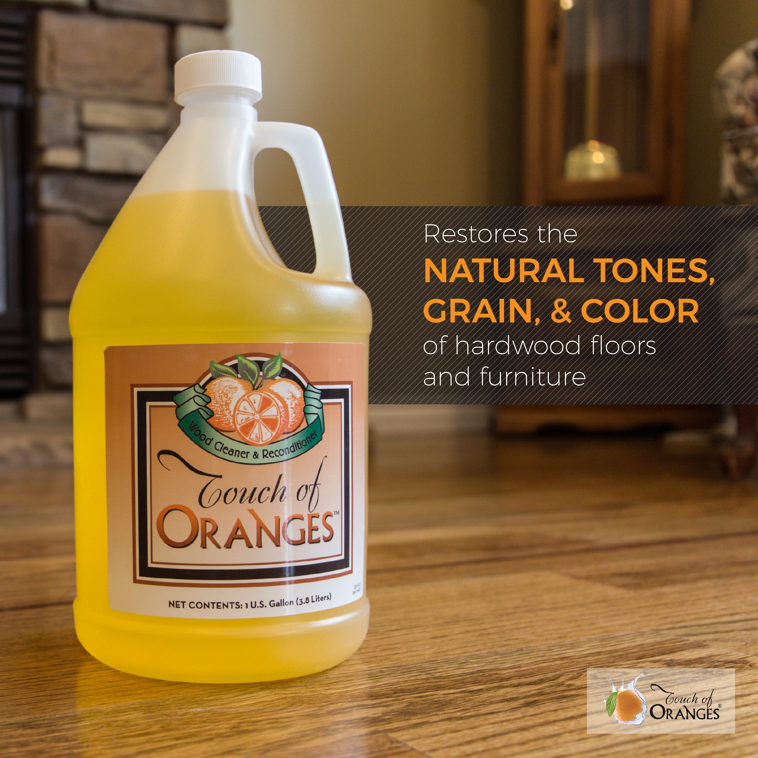 Touch of Oranges Hardwood Floor Cleaner and Touch of Beeswax for Wood Polish Cleaner and Restorer Bundle (1 gallon Cleaner & 1/2 gallon Polish) by Touch Of Oranges (Image #2)