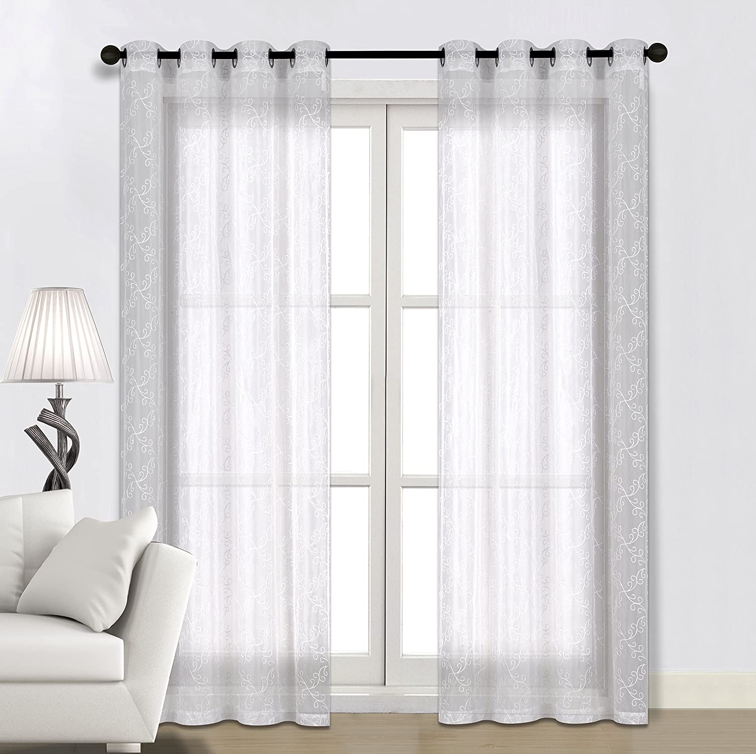 Valea Home Grommet Voile Sheer Curtains Floral Embroidered Window Treatments
