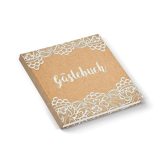 quadratisches-gstebuch-hochzeitsgstebuch-kraftpapier-optik-weiss-beige-mit-spitze-design-im-shabby-chic-vintage-nostalgie-look-mit-164-weisse-seiten-hardcover-21-x-21-cm-fr-jeden-stift
