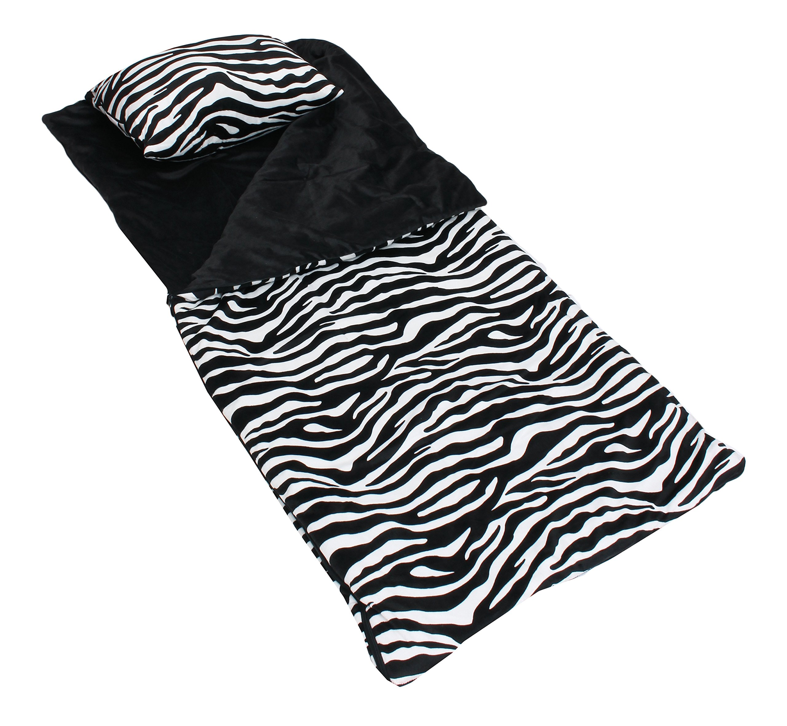 Thro by Marlo Lorenz Zebra Printed Sleeping Bag with Attached Pillow, Black/White
