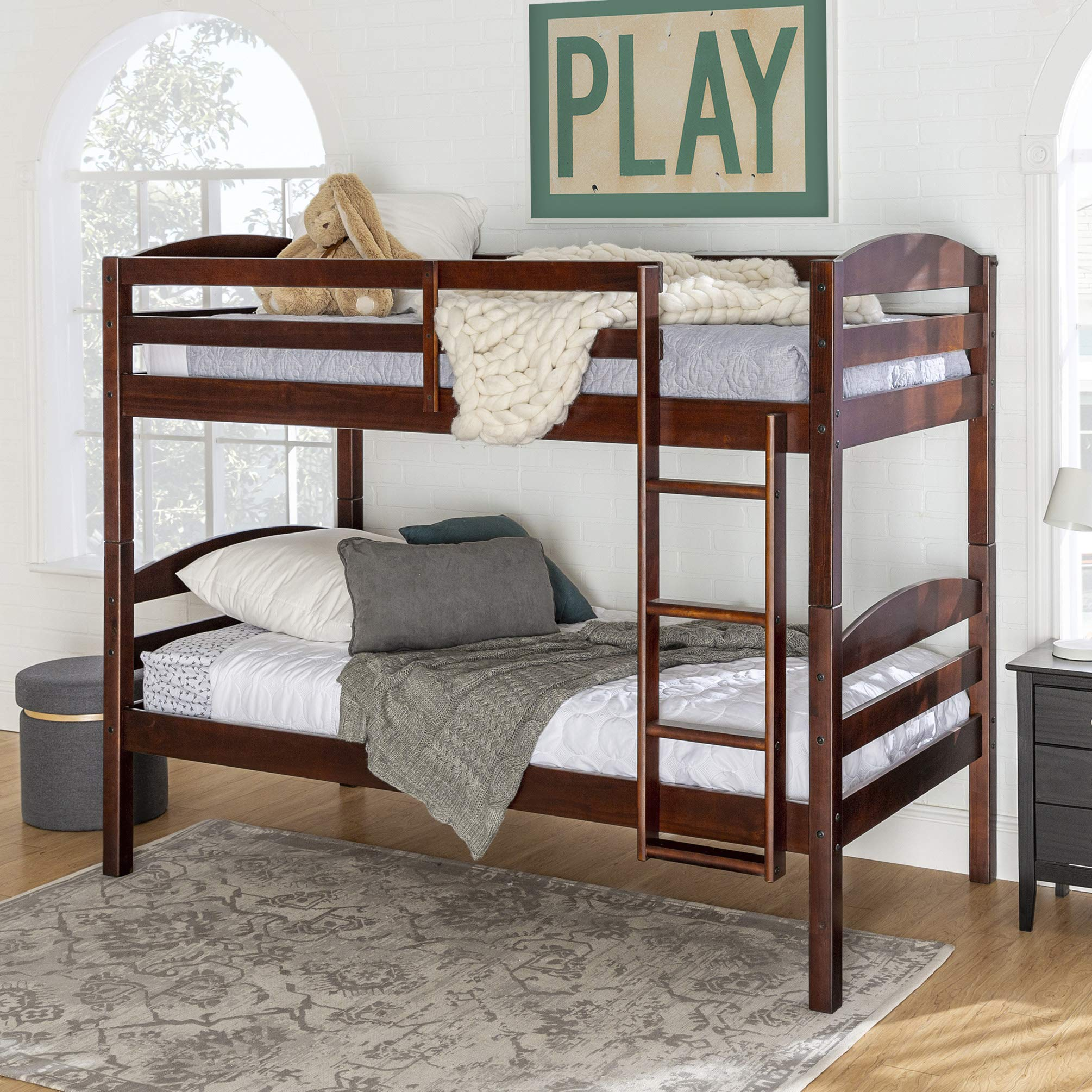 Walker Edison Della Classic Solid Wood Twin over Twin Bunk Bed, Twin over Twin, Espresso