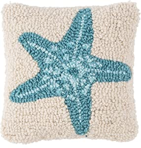 C&F Home Hooked Starfish Pillow Petite Tufted Decorative Throw Pillow Nautical Ocean for Couch Chair Living Room Bedroom 8 x 8 Blue