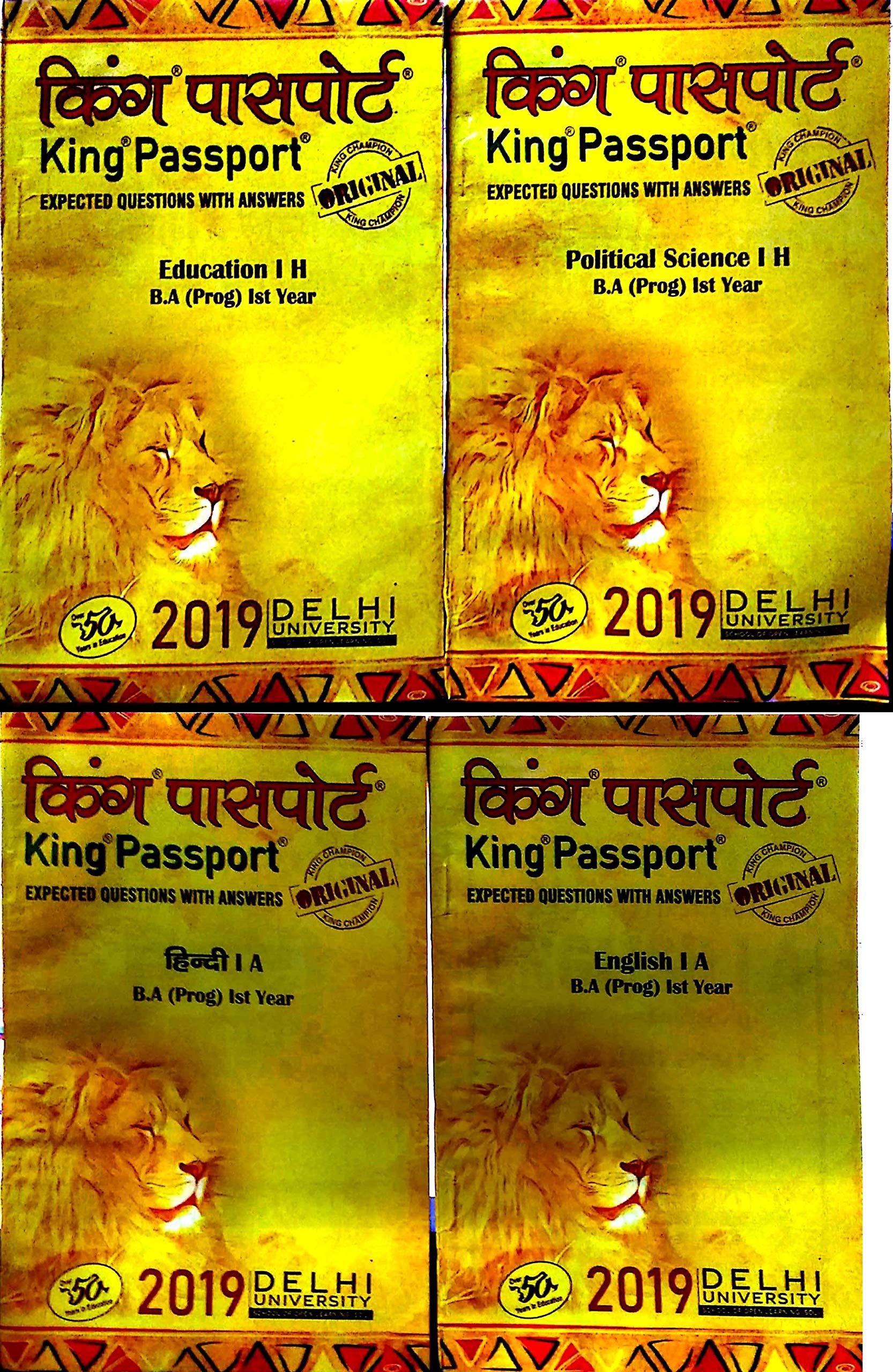 DU SOL BA Prog 1st Year Hindi Medium King Passport Hindi A, Eng A,  Rajneeti, Prachin Bharat: Amazon.in: King Champion Books: Books