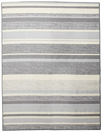 Anti Bacterial Rubber Back Area Rugs Non Skid Slip 5x7 Floor Rug Grey Stripes Colorful Indoor Outdoor Thin Low Profile Living Room Kitchen Hallways