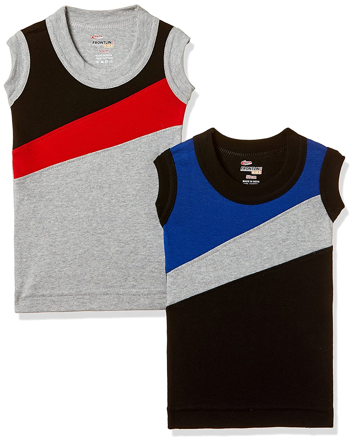 [Apply Coupon] Rupa Frontline Kids Boys' Cotton Vest (Pack of 2)(Colors & Print May Vary)