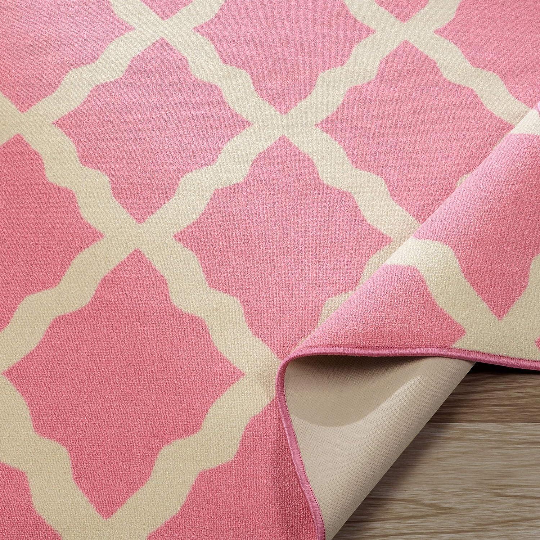 50 X 66 Non-Slip Ottomanson Glamour Collection Contemporary Moroccan Trellis Design Kids Rug Kitchen and Bathroom Mat Rug Pink