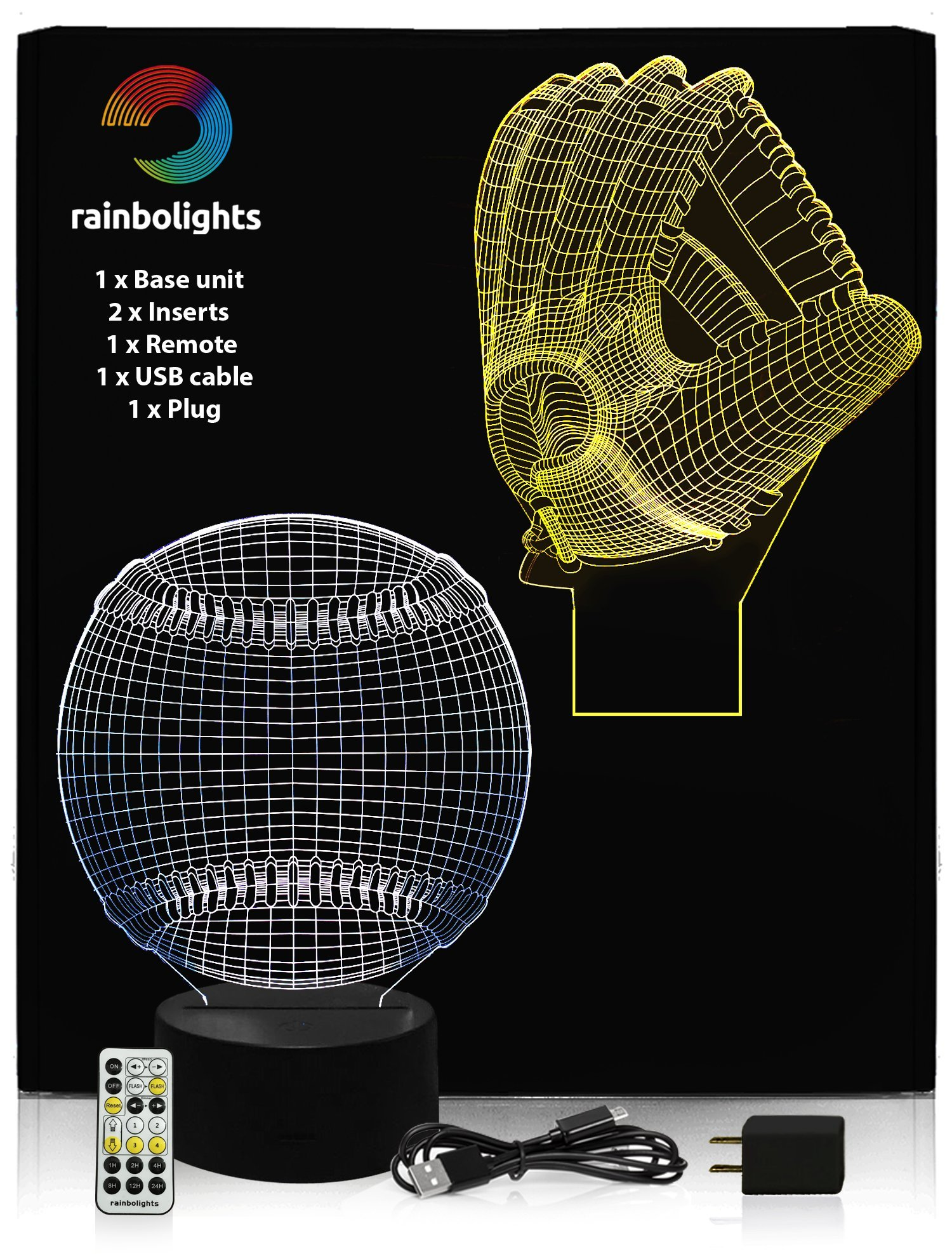 BASEBALL GIFTS 3D Illusion Night Light BASEBALL & BASEBALL GLOVE- 2 Designs in 1 box- Includes REMOTE CONTROLLER A Great Gift for Men Dad Boys or Adults A Great Gift Set inc Plug by rainbolights