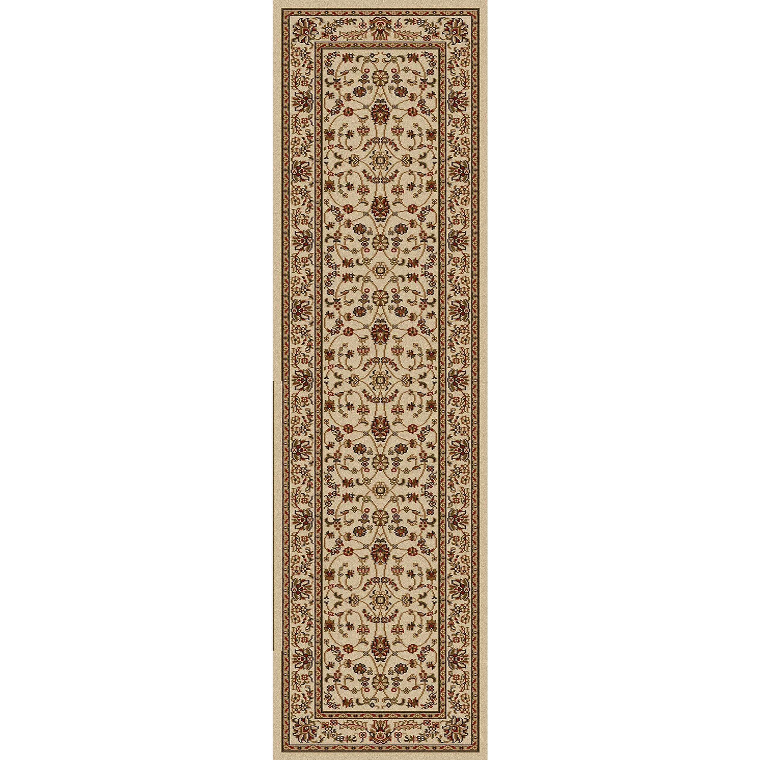 1 Piece 2'2'' x 7'7''ft Ivory Cream Orietnal Hallway Rug, Long Floral Carpet Entranceway French Country Classic Pattern Bordered Narrow Flooring Runner Style, Victorian Themed Royal Vintage, Olefin