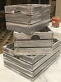 Rustic Decorative Wood Crates (Set of 3) - Handmade (Cottage Grey Distressed)
