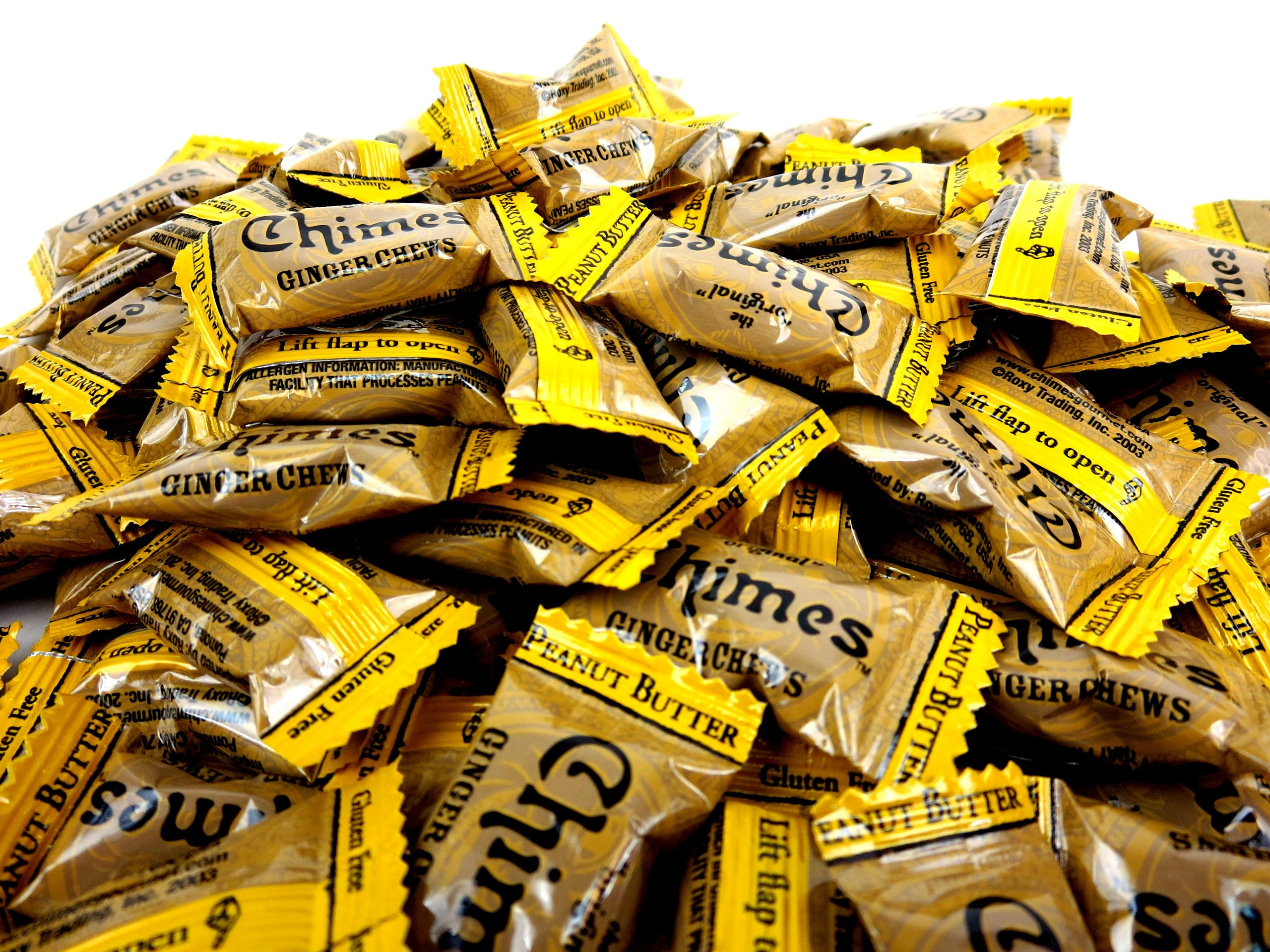 Chimes Peanut Butter Ginger Chews, 1 lb Bag in a Gift Box