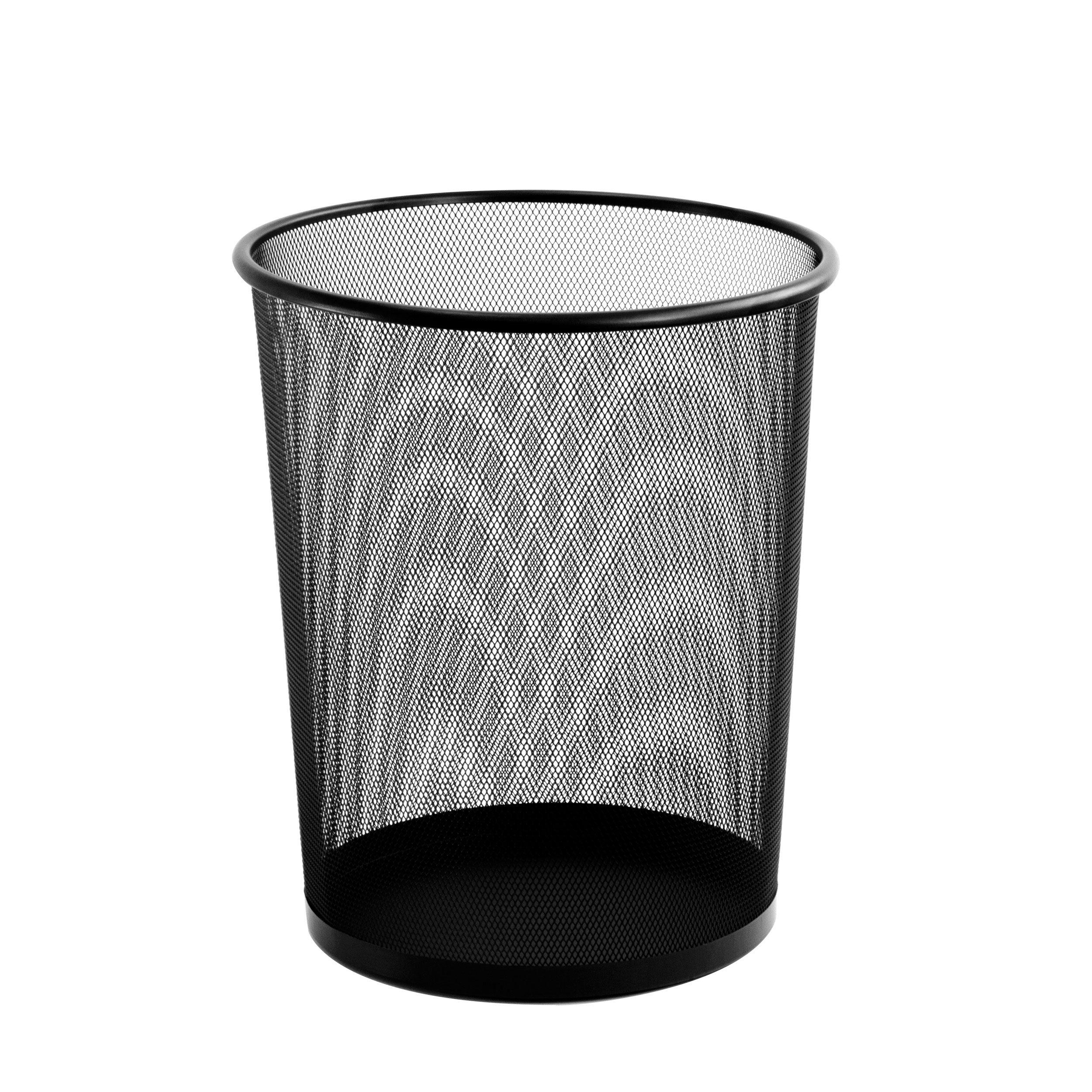 U Brands Mesh Steel Trash Can, 14'' Height x 12'' Diameter, 6 Gallon Capacity, Black