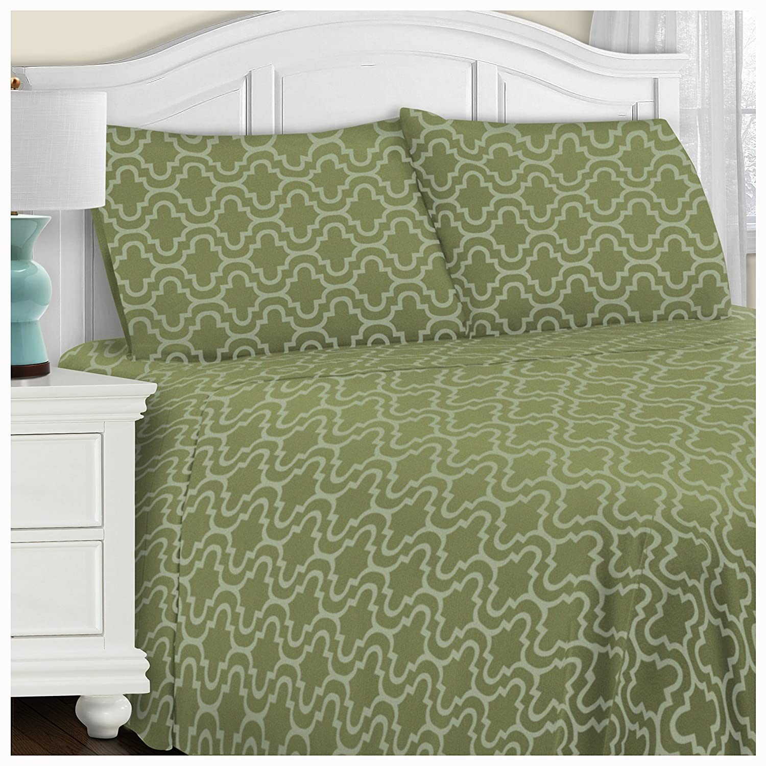 (Twin XL, Sage Trellis) Superior Extra Soft Printed Highest Quality All Season 100% Brushed Cotton Flannel Trellis Bedding Sheet Set with Deep Pockets Fitted Sheet Sage Trellis, Twin XL Size B01N29GPXS Twin XL|Sage Trellis Sage Trellis Twin XL