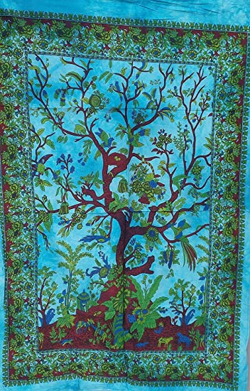 TREE of LIFE INDIAN WALL HANGING TAPESTRY BEDSPREAD THROW Ethnic Decorative Art