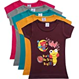 trendz polo Multicoloured Printed Cotton Girls T Shirt Combo Pack 5