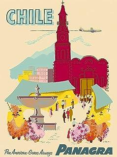 Santiago Chile Panagra Vintage South America Travel Advertisement Art Poster Print. Poster measures 10 x
