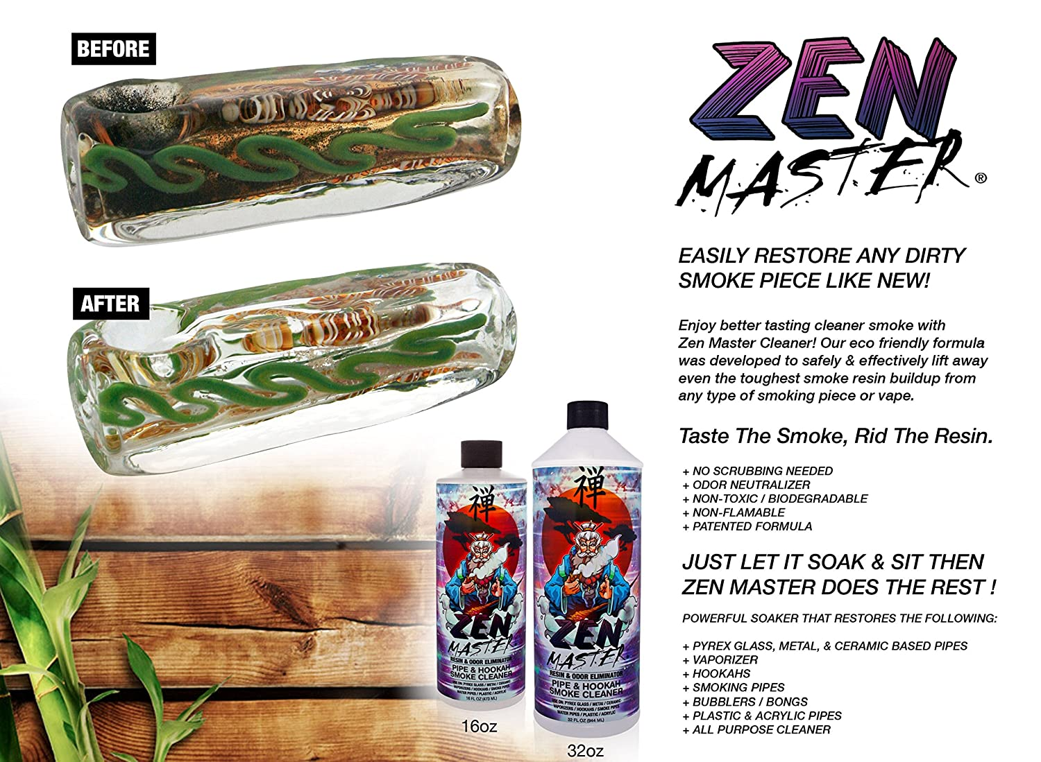 ZEN MASTER GLASS PIPE CLEANER / BONG CLEANER - 32oz Value Size Resin & Odor Eliminator Biodegradable Formula - for maintaining your heady glass