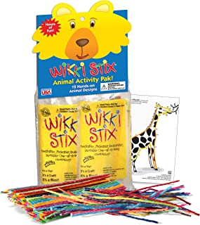product image for WikkiStix Non-Toxic, American-Made Bring 12 Fun Animals to Life in Individual Packets, with Fun fact in Each in Animal Activity Pak.