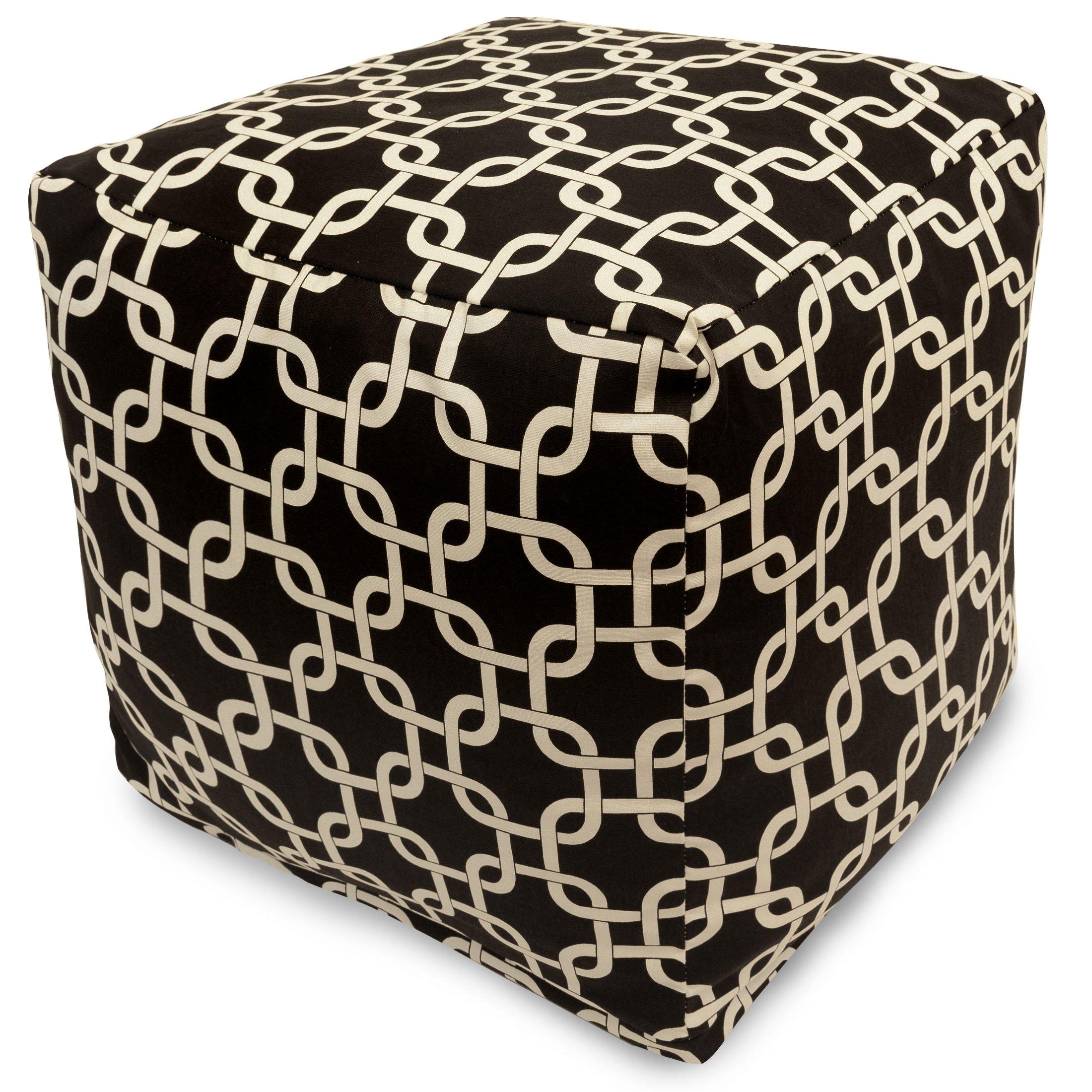 Majestic Home Goods Links Indoor/Outdoor Bean Bag Ottoman Pouf Cube, 17'' x 17'' x 17'' (Black)