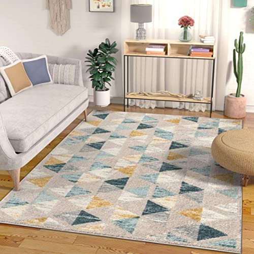 Well Woven Kashton Mid-Century Modern Construct Triangles Geometric Gold, Blue Grey Area Rug 8×11 7 10 x 9 10