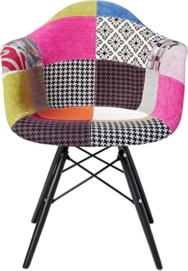 2xhome Mid Century Modern Arm Chair With Black Wood Legs Patchwork A Fabric Kitchen Dining Room Furniture