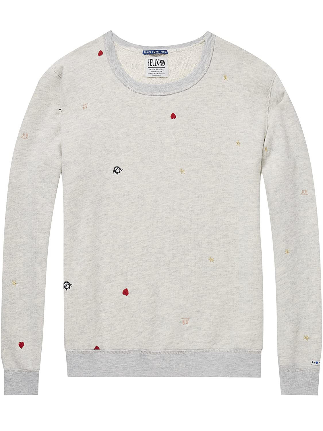 TALLA L. Scotch & Soda AMS Blauw Felix The Cat Crew Neck Sweat Sudadera para Mujer