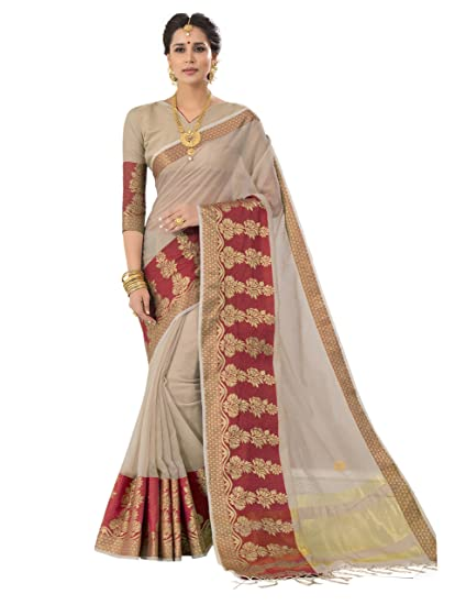 Pisara Women Banarasi Cotton Silk Saree With Blouse Piece Grey Sari