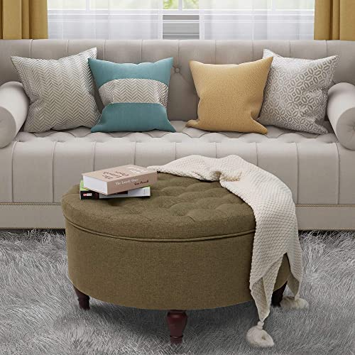 ABBLE Indoor 32″ Tufted Round Storage Cocktail Ottoman
