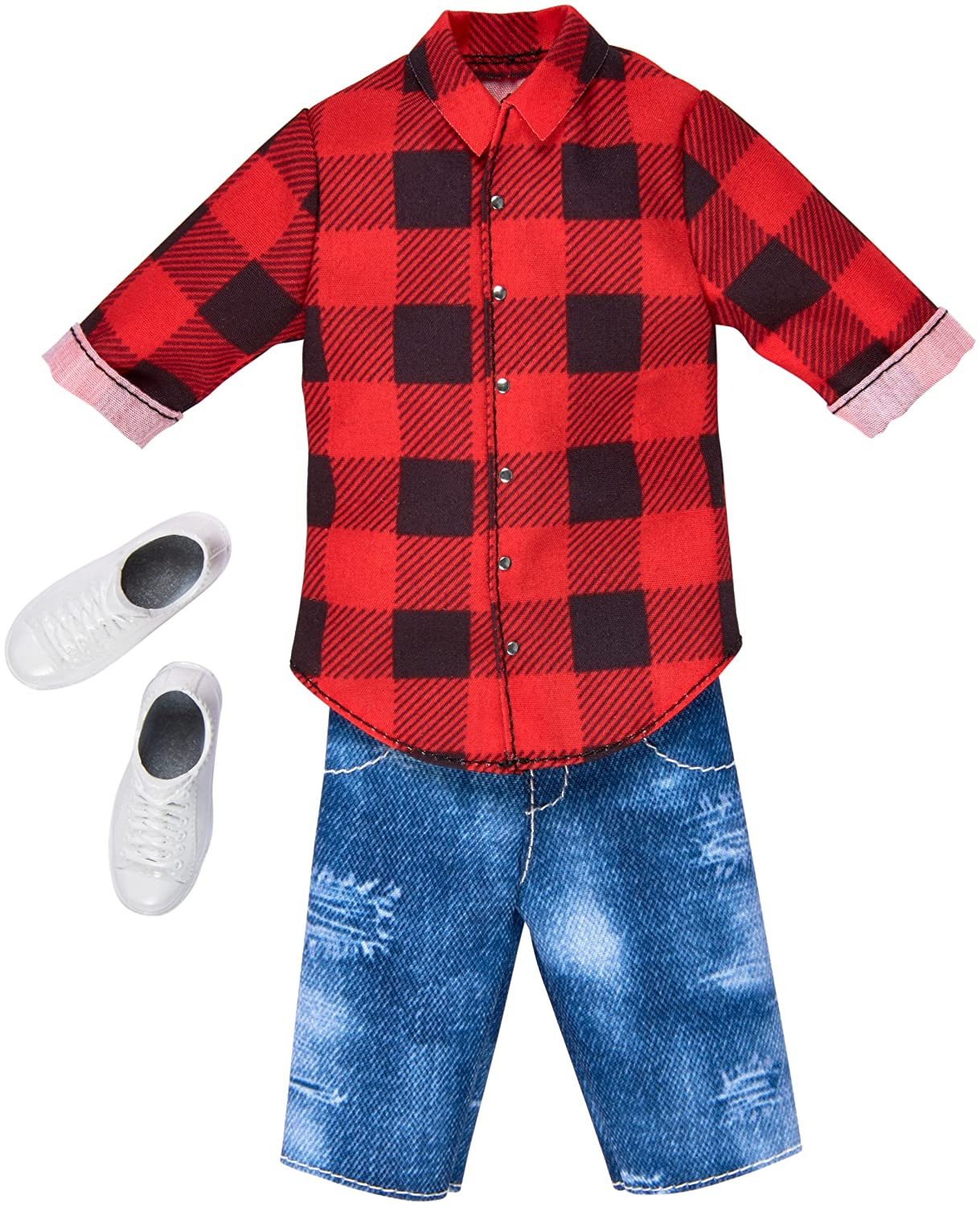 Barbie Ken Fashions Pack - Red Buffalo Plaid Shirt and Denim Shorts Fisher Price / Mattel Canada FKT47