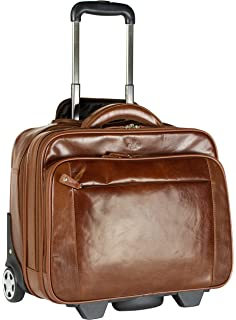 S Babila Leather Laptop Cabin Size Wheeled Hand Luggage Business ...