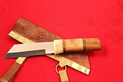 Viking Sax cuchillo, funda con latón, Seax cuchillo con ...
