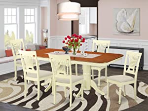 East West Furniture NAPL7-WHI-C 7-Piece Dining Set – 6 Dining Room Chairs and a Wooden Table - Rectangular Table Top – Slatted Back and Linen Fabric Seat (Buttermilk & Cherry Finish)