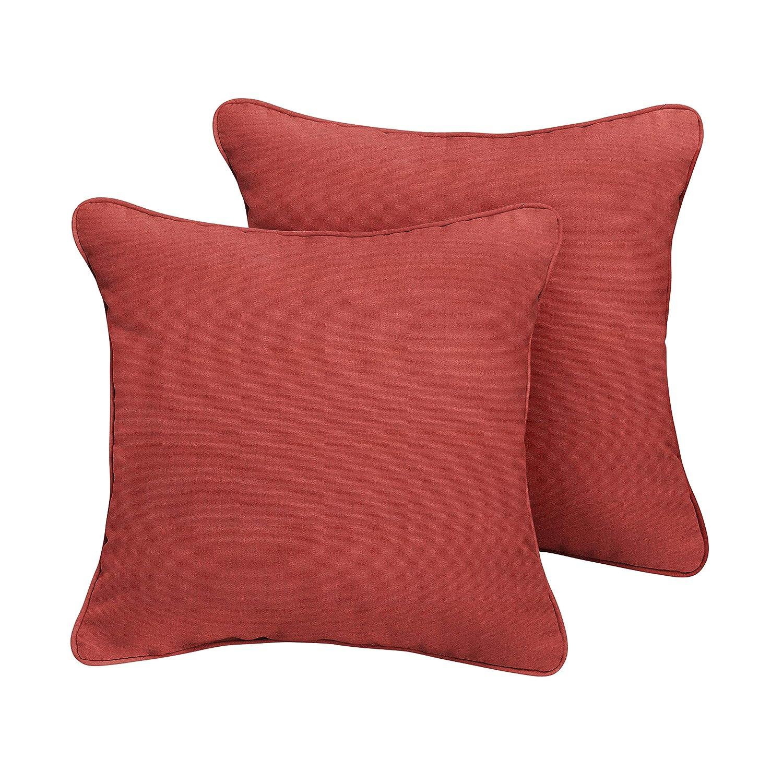 1101Design Sunbrella Terra Cotta Corded Decorative Indoor Outdoor Square Throw Pillows, Perfect for Patio D cor, Terra Cotta 16 – Set of 2